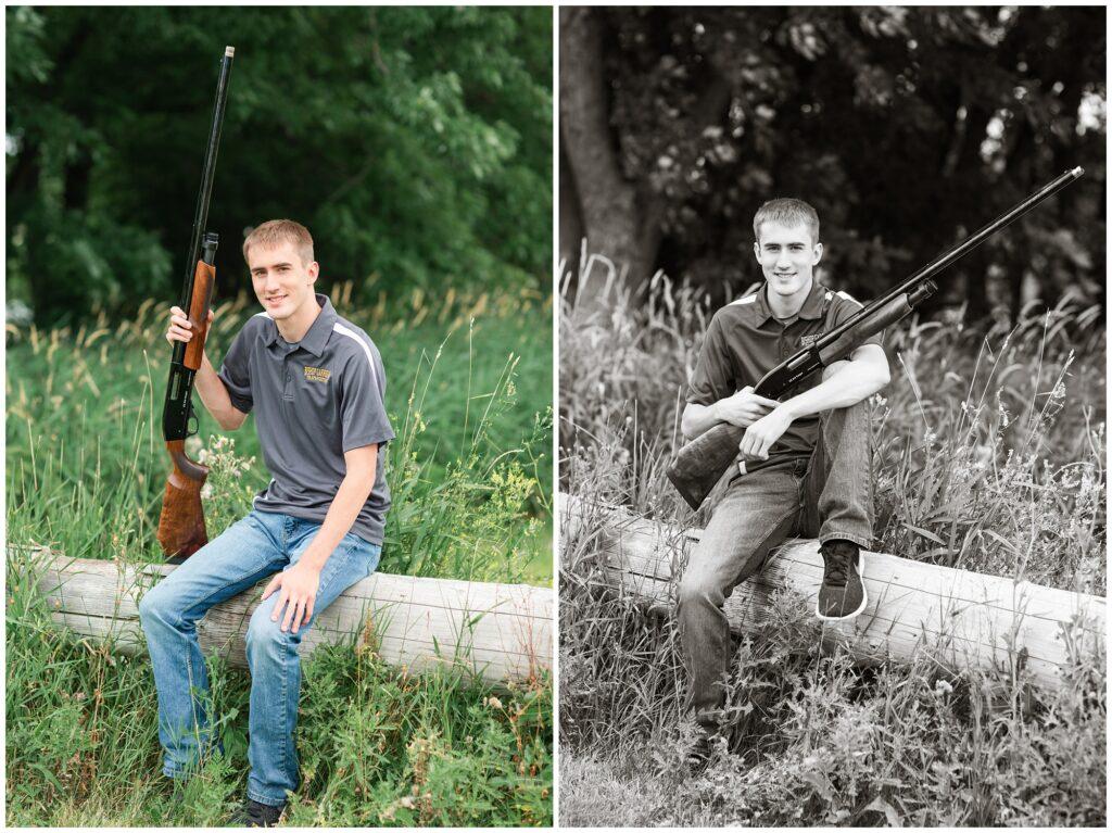 Trap shooting senior boy poses | Iowa Senior Photographer | CB Studio