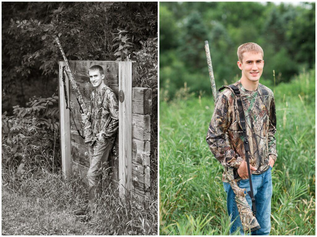 Hunting senior boy poses | Iowa Senior Photographer | CB Studio