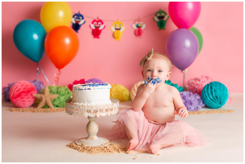 Baby Shark themed cake smash session | Iowa Baby Photographer | CB Studio