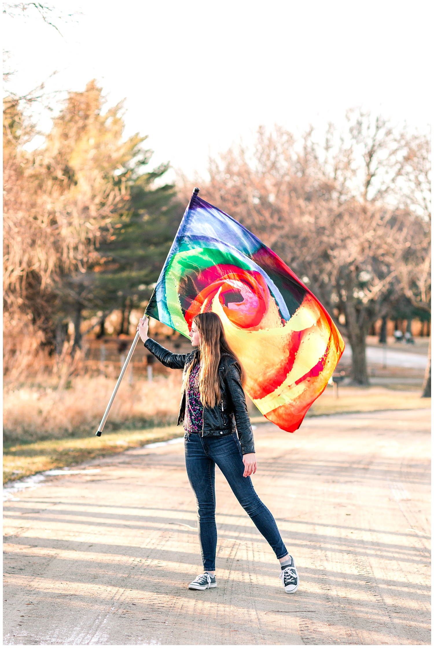 Senior girl demonstrating color guard skills | Iowa Senior Photographer | CB Studio