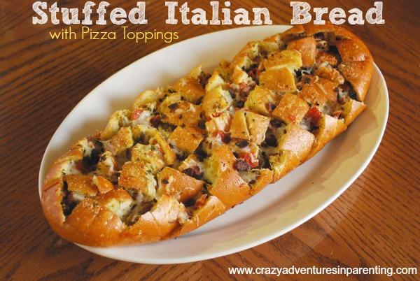 Stuffed Italian Bread Recipe {with Pizza Toppings}