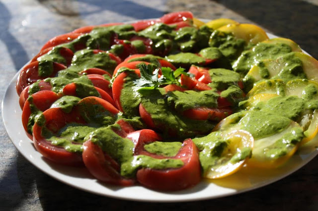 Heirloom Tomatoes with Spicey Cilantro