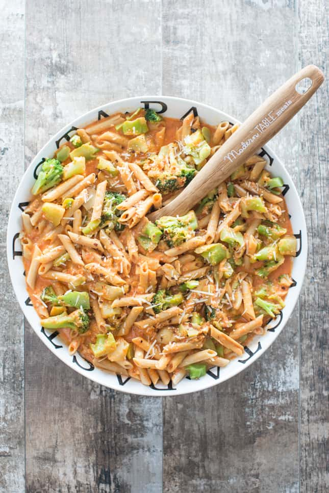 Gluten-Free Vegan Red Lentil Penne with Roasted Garlic And Broccoli In A Creamy Red Pepper Sauce