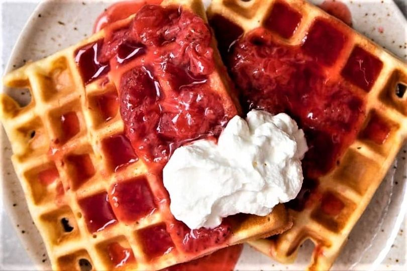 LEMON WAFFLES WITH STRAWBERRY-ORANGE COMPOTE