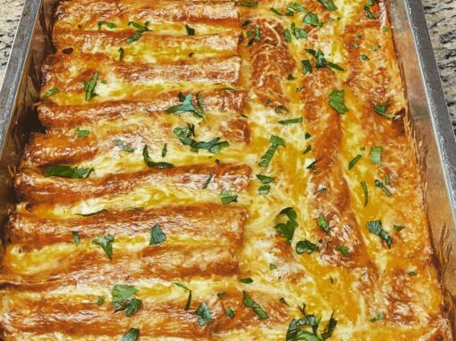 Baklouti Green Chili Chicken & Cheese Enchiladas