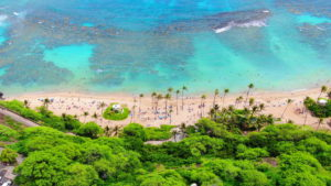 Aerial Shot of Hanauma Bay from a Drone