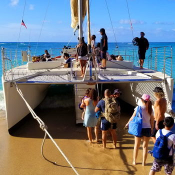 Boarding the Holokai Catamaran