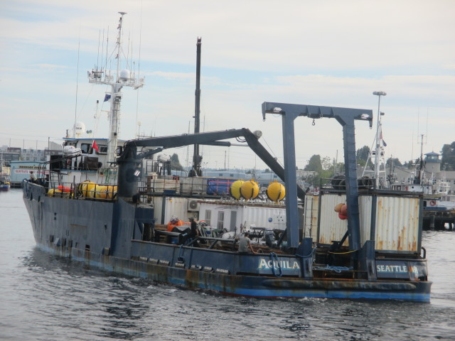 Aquila, Seattle Ship Canal Docking at Fishermen's Terminal, she's loaded & back again!