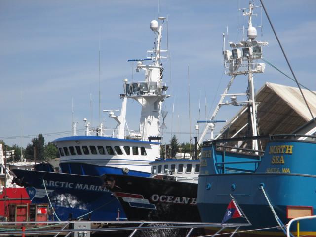 F/V Arctic Mariner, F/V Ocean Harvester, F/V North Sea, Sunny June Morning Pacific Fishermen Shipyard - Ballard WA - AK Bering Sea Crabber & Draggers Home Port - PNW!