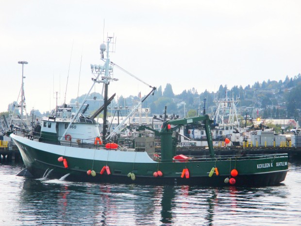 F/V Kevleen K. going over to load AK Fishing crab pots at Fishermen's Terminal
