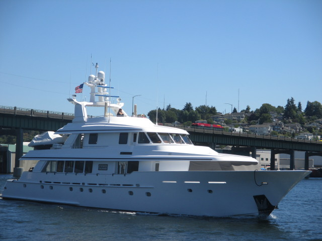 Sojourn, PNW Seattle Superyacht, Ballard Bridge Lift on the way to Pacific Fishermen Shipyard for Summer NW Yard Work! Have fun Ya'll!