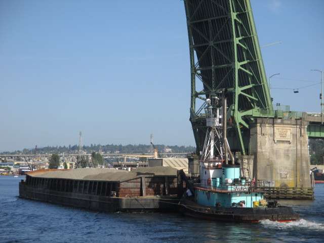 Island Chief, Island Tug & Barge, Gravel Barge Traffic, Ballard Bridge Lift Seattle Ship Canal Marine Traffic Underway - Always Busy!