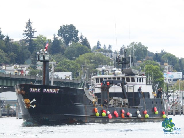Time Bandit, Deadliest Catch AK Bering Sea Crabber, Departing Fishermen's Terminal Seattle Late Summer PNW, Photography by: Salty Dog Boating News, Salty Sea Chick, PNW Canal Marine Traffic Source! Ballard Bridge Standing by for a Lift, Canal Eastbound