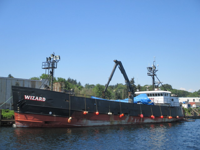 F/V Wizard, Deadliest Catch Boat, Getting work done on her stern - big bootie! Seattle Ship Canal Spring Sunny Days PNW!