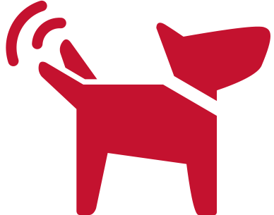 dog wagging tail icon (red)