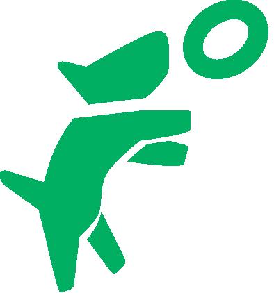 Dog jumping icon (green)