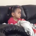 Sad: Little girl cries over Mufasa (The Lion King).