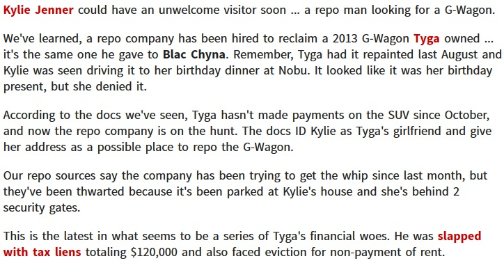 Repo Man Looking For Tyga & Kylie Jenner for 2013 G-Wagon
