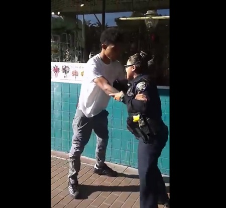 Little Female Cop Tries To Arrest A Man For Riding His Bike On A Sidewalk