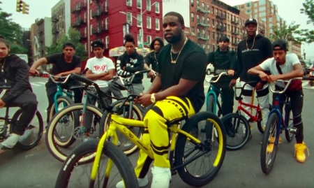 "Riding his custom bicycle by Nigel Sylvester, Asap Ferg joins other bikers through Harlem to deliver his new video called ""Floor Seats""."