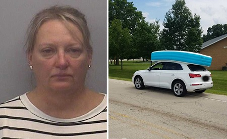 Mom arrested for driving around with her kids on top of roof inside pool.