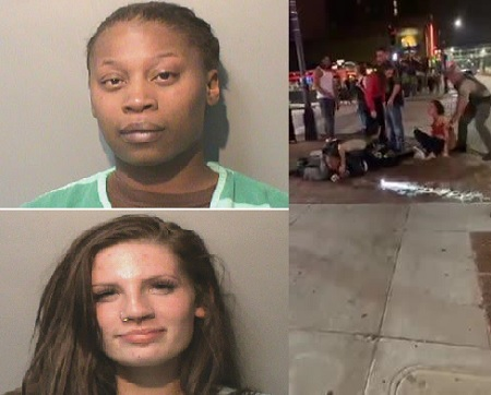 two women fighting; One cop Elbows Female.