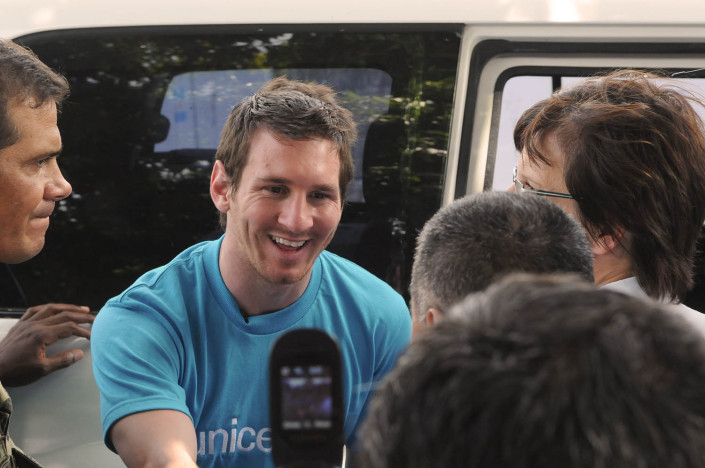 UNICEF Goodwill Ambassador Lionel 'Leo' Messi greets members of the Argentinean contingent of the United Nations Stabilization Mission in Haiti (MINUSTAH) on arrival at the field hospital that they run, in Port-au-Prince, Haiti.