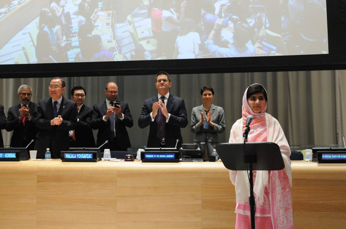 Education activist Malala addresses the UN.
