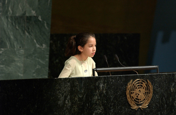 Gabriela Azurduy Arrieta, Bolivian Child Delegate addresses the UN General Assembly.