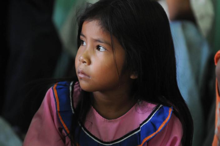 A girl participates in a language class in the indigenous Shipibo-Conibo community of Nuevo Saposoa in the Peruvian Amazon.