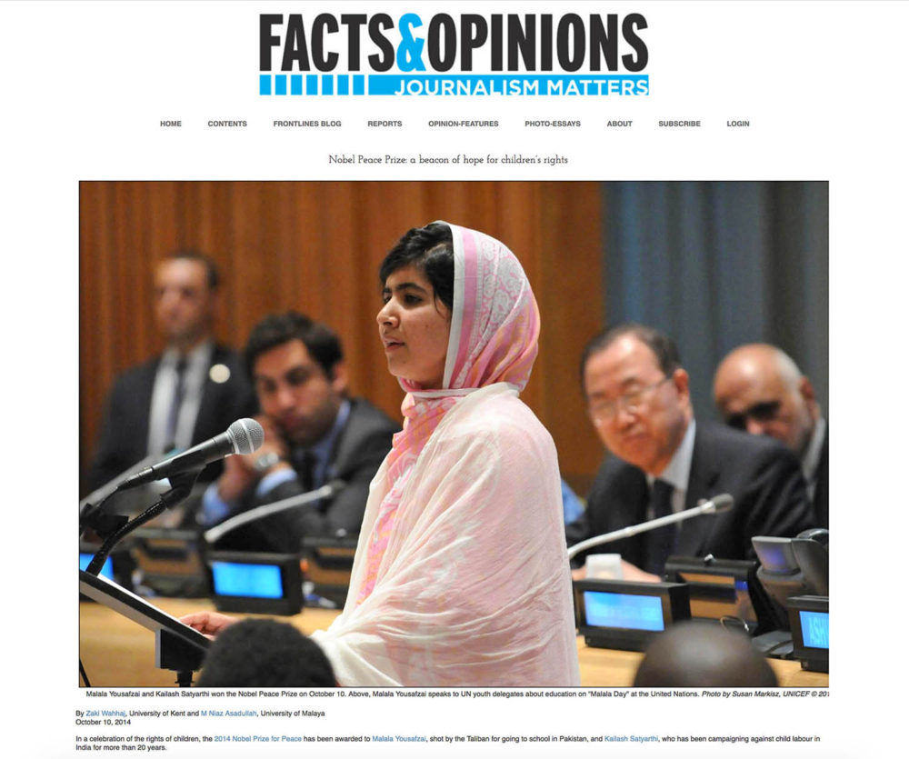 Screen capture from Journalism Matters showing education activist Malala Yousafzai addressing the UN for the first time.