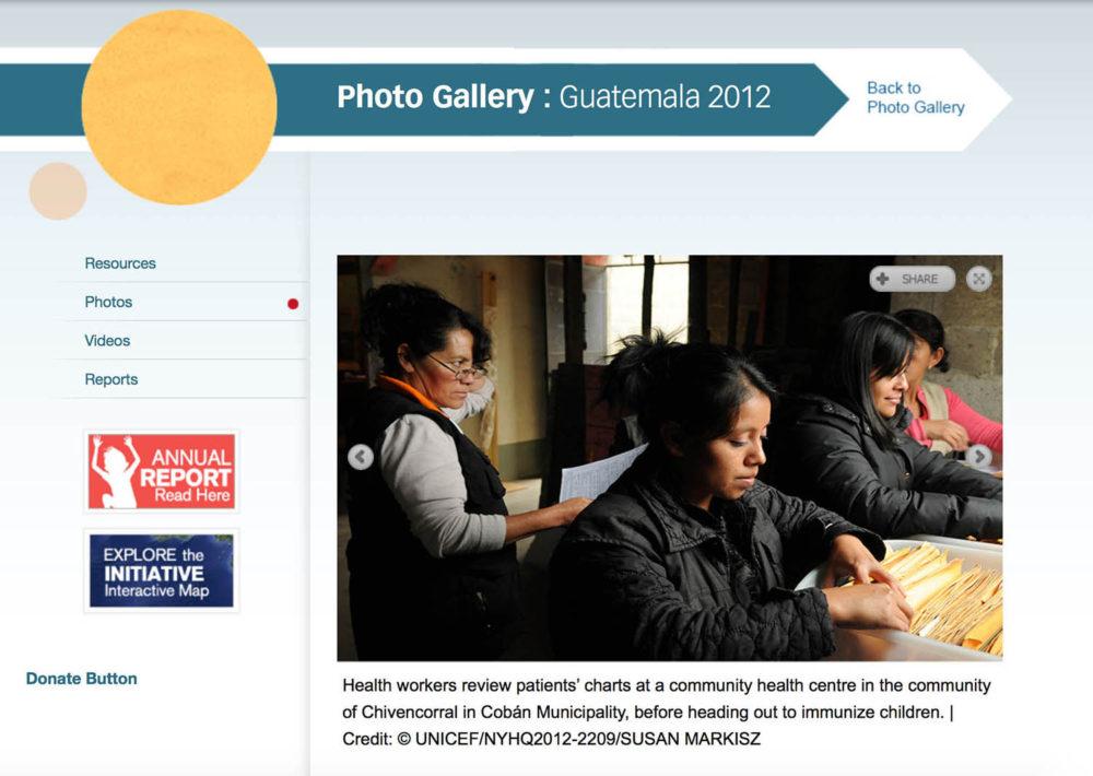 Screen capture of Guatemala photo gallery of women health volunteers.