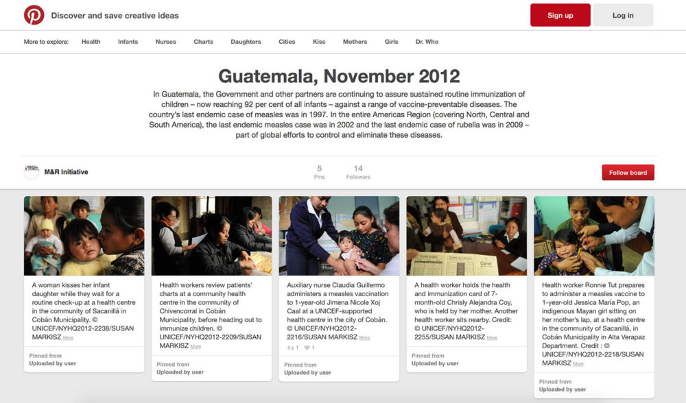 Pinterest screen capture of photos of children at health centres in Guatemala.