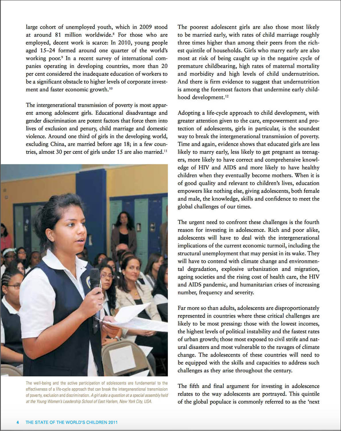 Screen capture of a page from a report showing a girl speaking from a microphone at a Harlem, NY school.