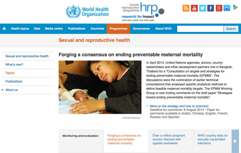 World Health Organization screen capture showing a photograph of a woman holding her newborn infant in Guatemala.