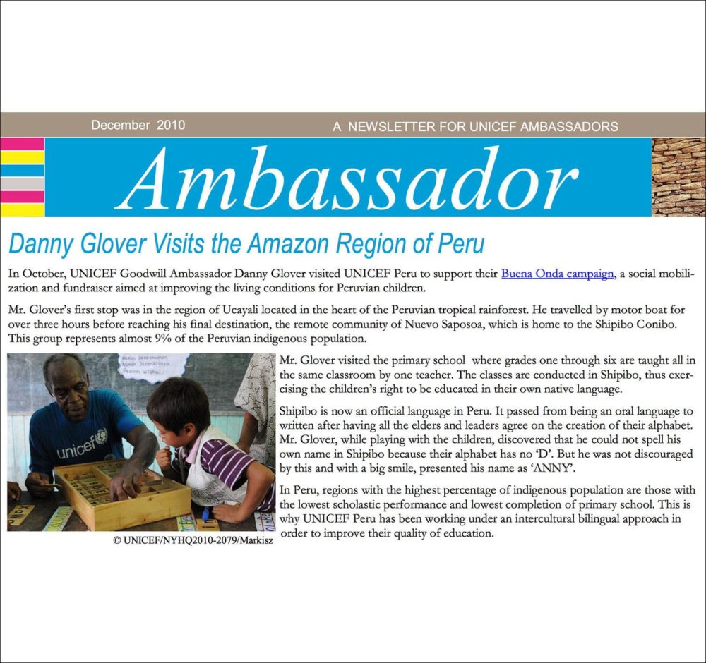 Screen capture of US Fund for UNICEF newsletter on UNICEF Goodwill Ambassadors with a photograph of Danny Glover and a young Peruvian student.