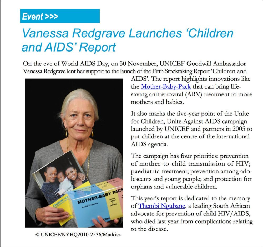 Screen capture of US Fund for UNICEF newsletter on UNICEF Goodwill Ambassadors with a photograph of Vanessa Redgrave.
