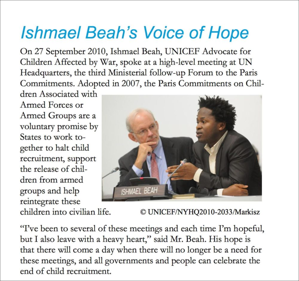 Screen capture of US Fund for UNICEF newsletter on UNICEF Goodwill Ambassadors showing a photograph of UNICEF Executive Director Anthony Lake and Ishmael Beah.