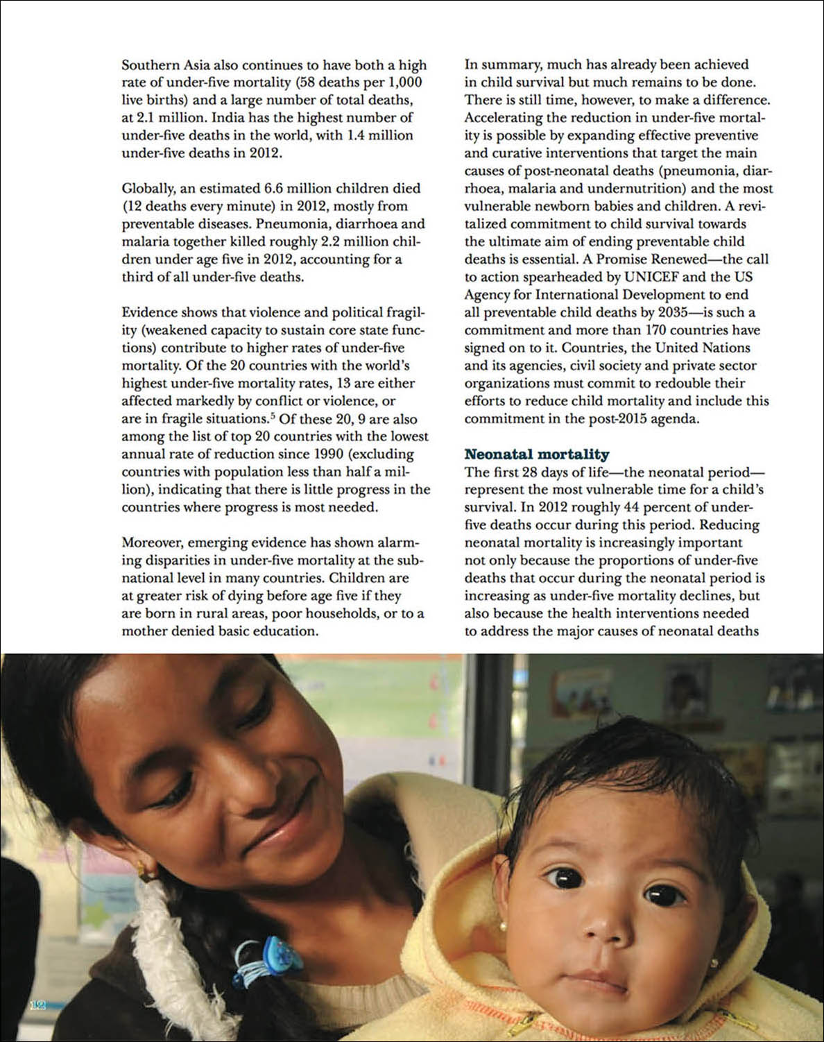 Screen capture/tearsheet showing a young mother holding her infant daughter.