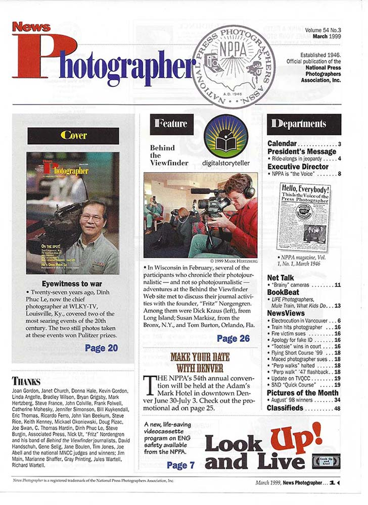 NPPA News Photographer tear sheet story on Behind the Viewfinder - title page