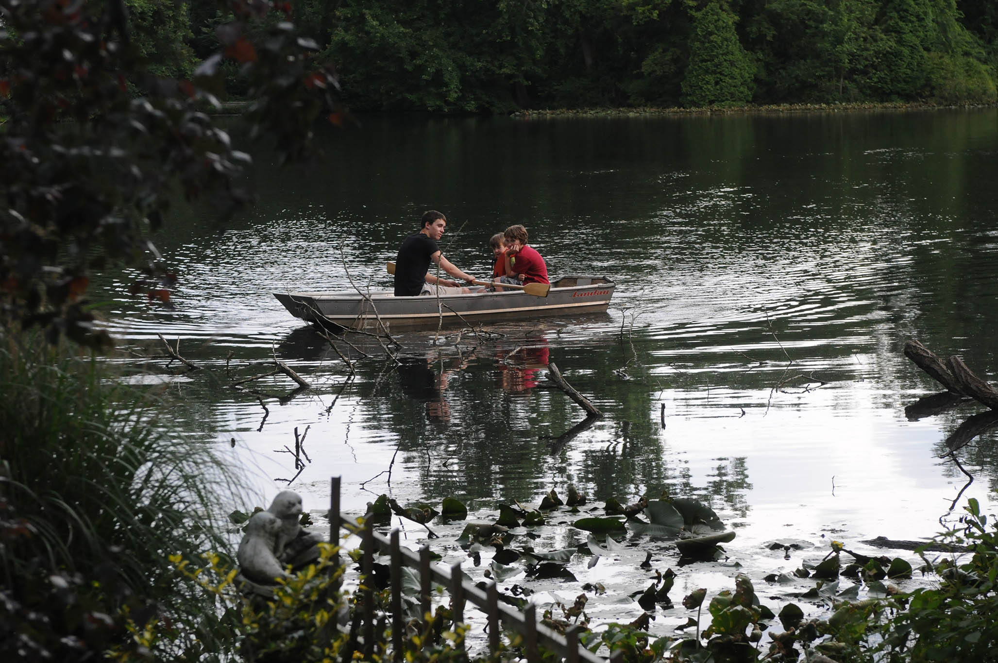 Three young boys in a rowboat on a small pond surrounded by trees and foliage.