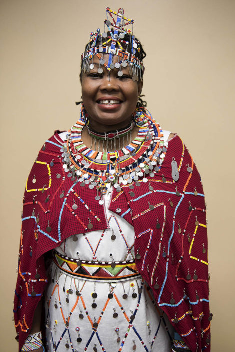 Portrait of Masai activist in colorful traditional wedding costume.