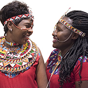 Samburu activists Jane Meriwas and Jacinta Silakan at the United Nations