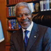 UN Secretary-General Kofi Annan at his desk in UN Headquarters.