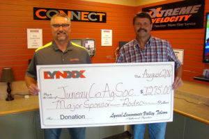 Photo information – left to right: Jim Costello, CEO, LYNXX and Terry Benson, Juneau County Fair Board member.