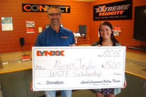 Lynxx Networks WSTF Scholarship Award Winner Alexis Taylor with Jim Costello, CEO of Lynxx Networks