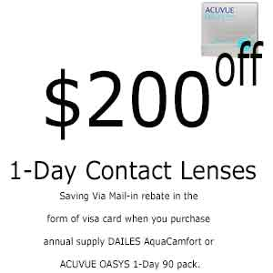 $200 Off Contact Lenses One day