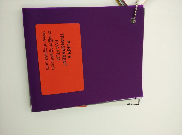 Purple Transparent Ethylene Vinyl Acetate Copolymer EVA interlayer film for laminated glass safety glazing (1)