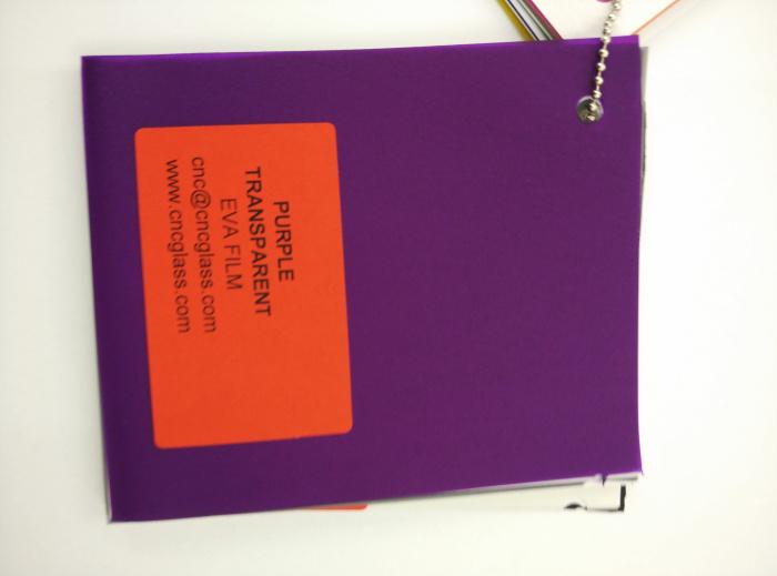 Purple Transparent Ethylene Vinyl Acetate Copolymer EVA interlayer film for laminated glass safety glazing (59)