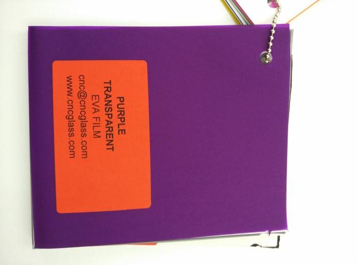 Purple Transparent Ethylene Vinyl Acetate Copolymer EVA interlayer film for laminated glass safety glazing (70)